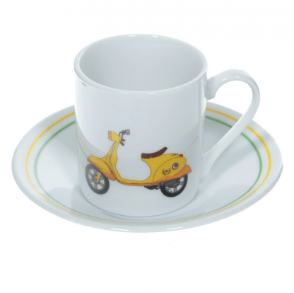 Espressoset porselein Retro Scooter kopje geel