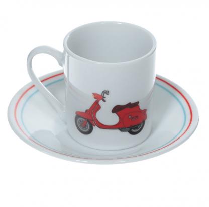Espressoset porselein Retro Scooter kopje rood