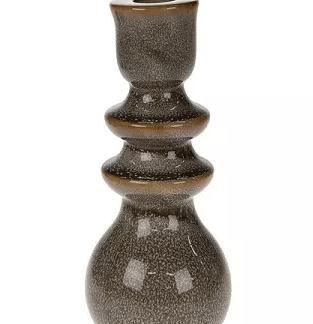 Kandelaar grijs keramiek 19 cm