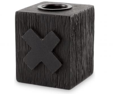 Kaarsenblokje kandelaar Kruis hout zwart 5x5x6cm - VT Wonen
